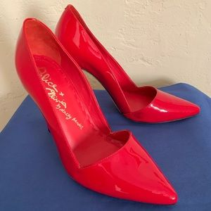 Alice + Olivia Red Patent Leather Shoes Heel Sz 36